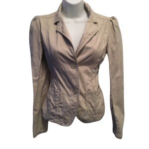 Beige Long Sleeves Blazer With Pockets Small